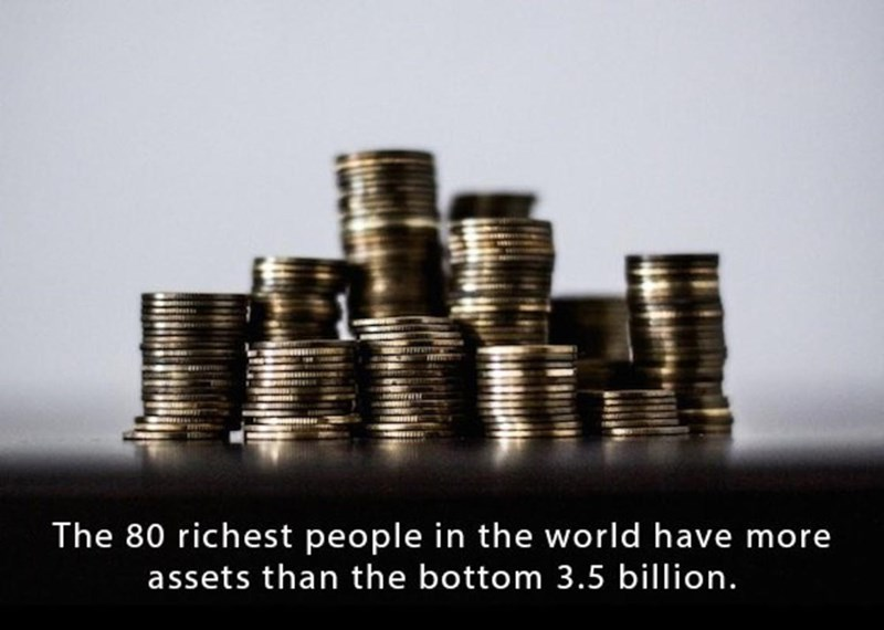 Money - The 80 richest people in the world have more assets than the bottom 3.5 billion.