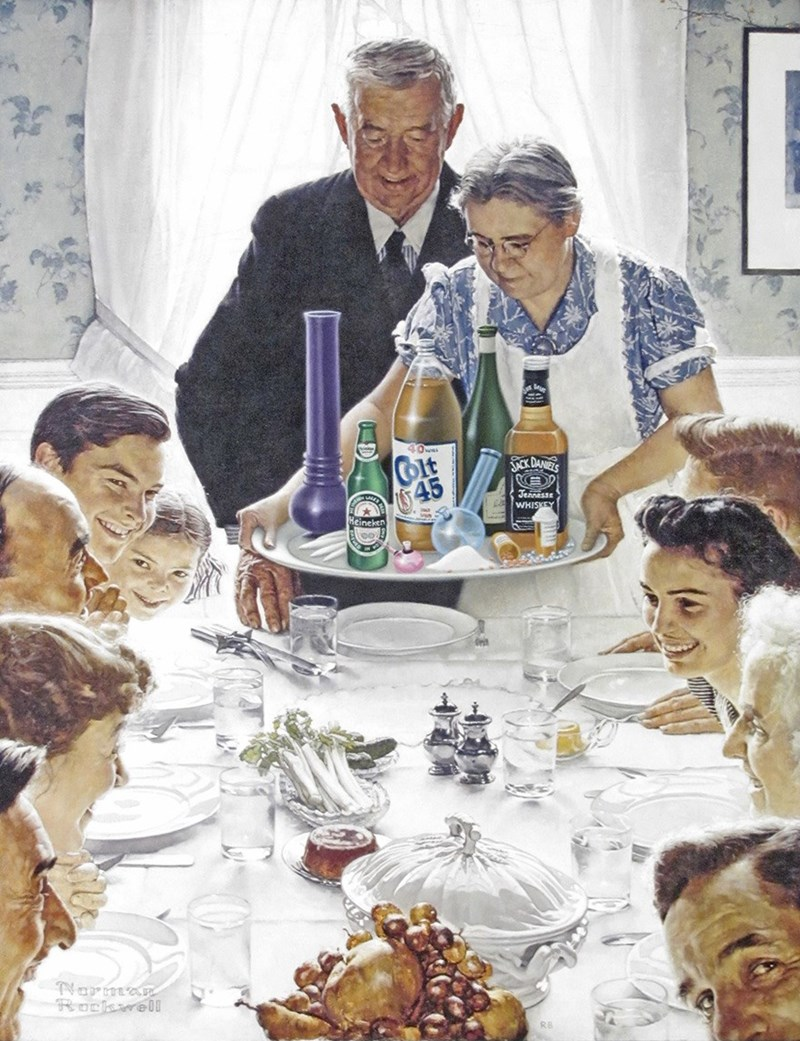 Funny meme about drugs and alcohol being served for Thanksgiving dinner.