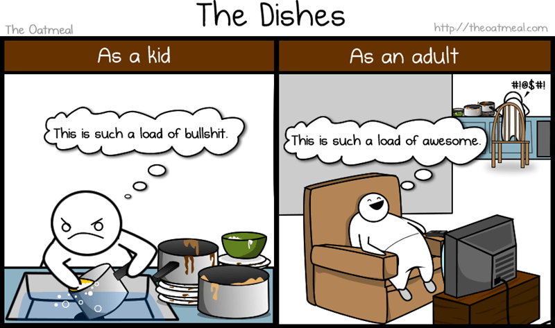 Cartoon - The Dishes http://theoatmeal.com The Oatmeal As a kid As an adult #1e$#! This is such a load of bullshit. This is such a load of awesome