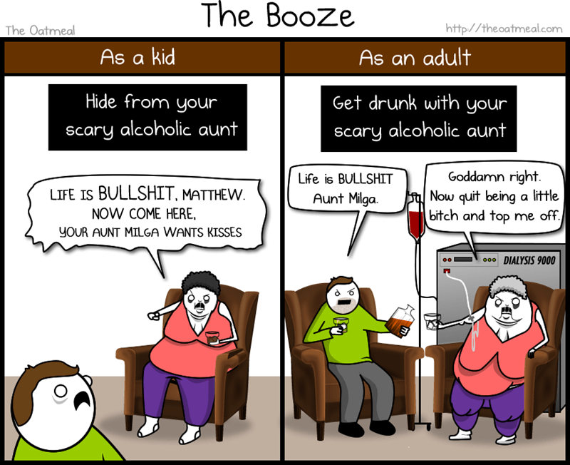 Cartoon - The Booze http://theoatmeal.com The Oatmeal As a kid As an adult Hide from your Get drunk with your scary alcoholic aunt Scary alcoholic aunt Goddamn right Now quit being a little bitch and top me off. Life is BULLSHIT LIFE IS BULLSHIT, MATTHEW Aunt Milga NOW COME HERE, YOUR AUNT MILGA WANTS KISSES 00DIALYSIS 9000