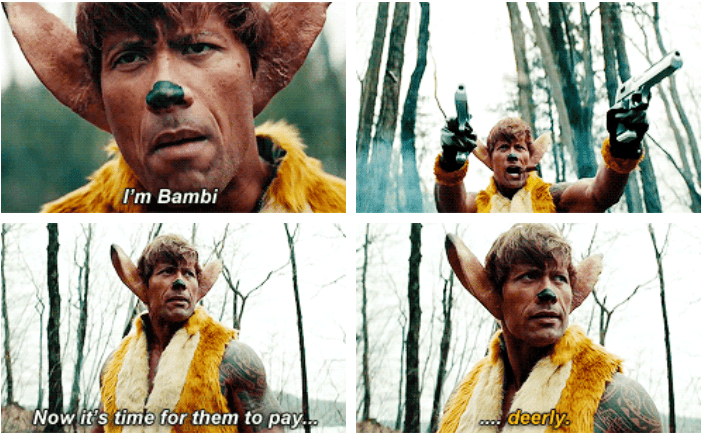 Funny meme about the rock being bambi.