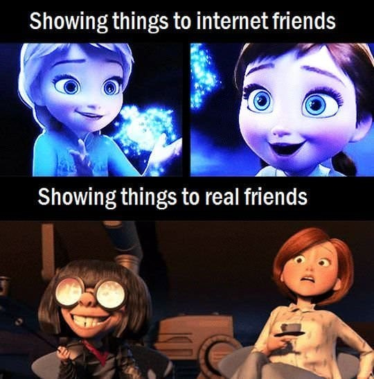 Animated cartoon - Showing things to internet friends Showing things to real friends