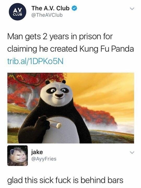 Funny meme about man claiming to be the creator of Kung Fu Panda.