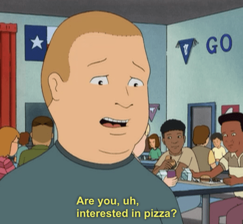 Funny meme about talking to crush and asking if they like pizza.