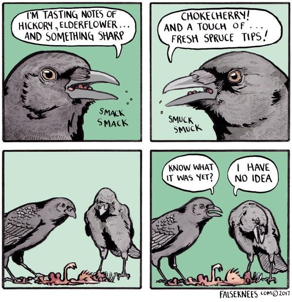 Bird - TM TASTING NOTES OF HICKORY, ELDERFLOWER.. AND SOMETHING SHARP CHOKECHERRY! AND A TOUCH OF FRESH SPRUCE TIPS SMACK SMACK SMUCK SMUCK I HAVE NO IDEA KNOW WHAT IT WAS YET? las. FALSEKNEES COM 2017