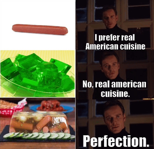 Funny meme about hot dogs in aspic.