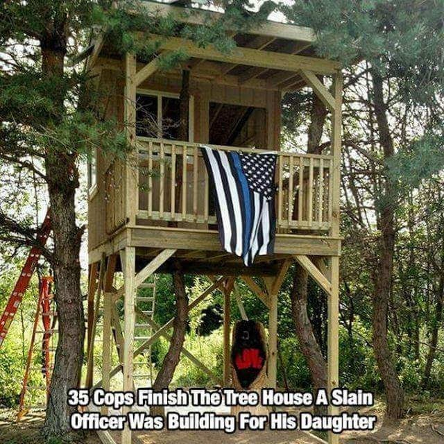 Tree house - Cops Finish The Tree House A Slain Officer Was Building For His Daughter