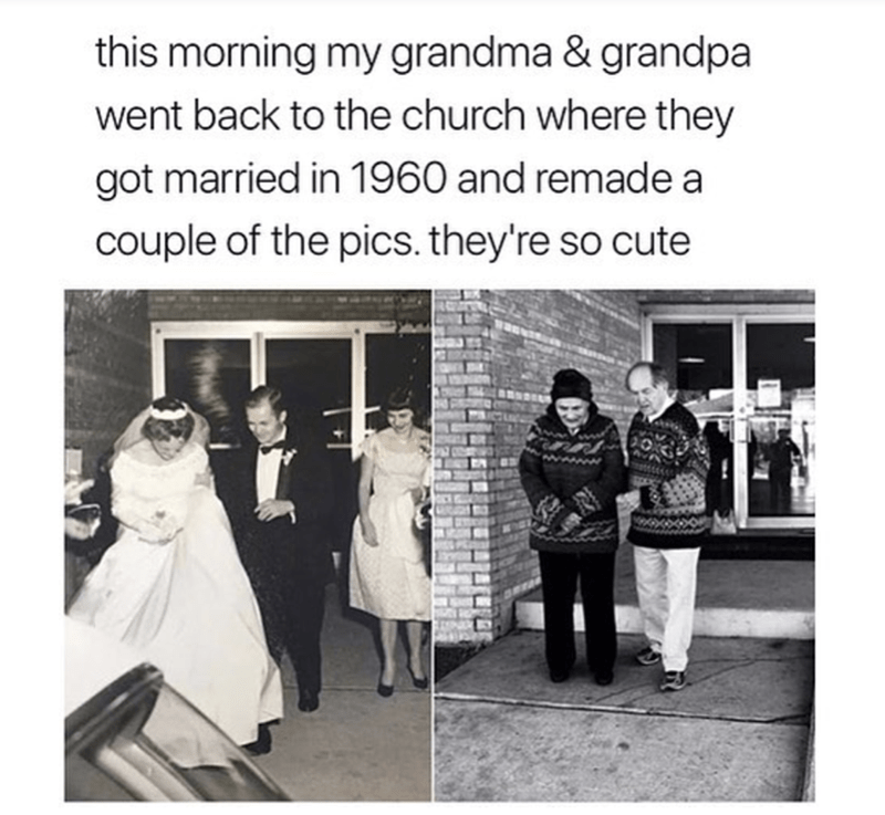 Photograph - this morning my grandma & grandpa went back to the church where they got married in 1960 and remade a couple of the pics. they're so cute