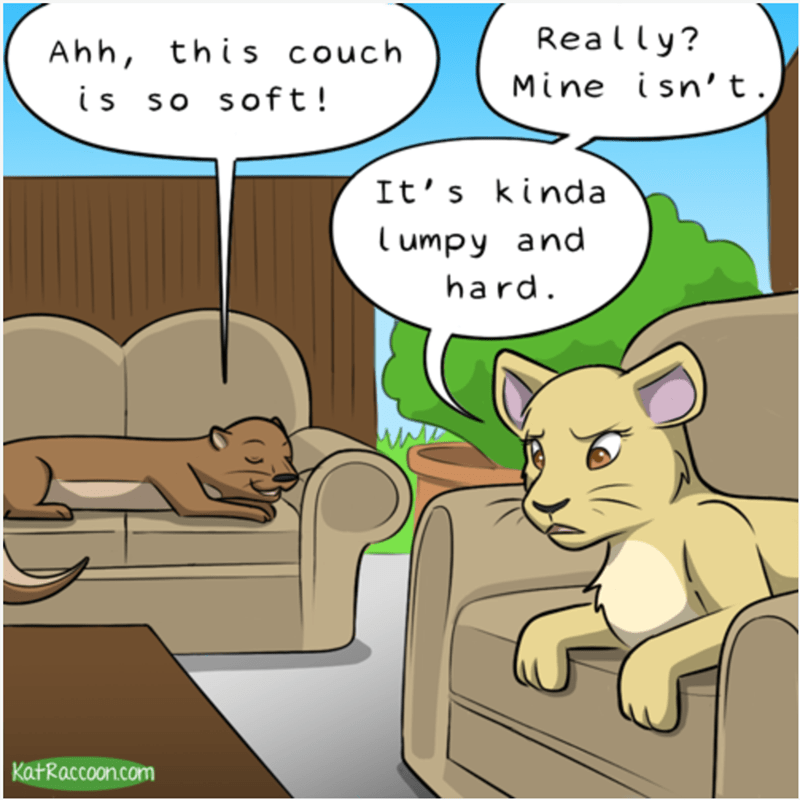Cartoon - Really? couch Ahh, this isn't. Mine is so soft ! It's kinda Tumpy and hard KatRaccoon.com