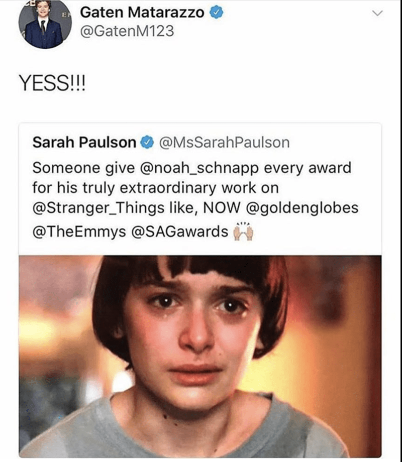 Face - Gaten Matarazzo @GatenM123 YESS!!! Sarah Paulson@MsSarahPaulson Someone give @noah_schnapp every award for his truly extraordinary work on @Stranger Things like, NOW @goldenglobes @TheEmmys @SAGawards