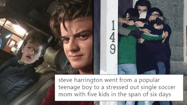Photo caption - 1 steve harrington went from a popular teenage boy to a stressed out single soccer mom with five kids in the span of six days