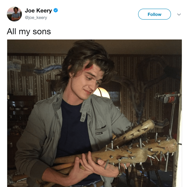 Joe Keery Follow @joe_keery All my sons 4