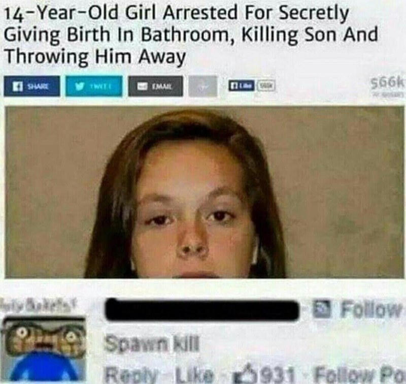 Funny meme about woman who kills son in bathroom, spawn kill.