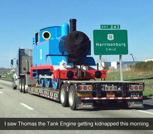 Funny meme about Thomas the Tank Engine getting kidnapped.