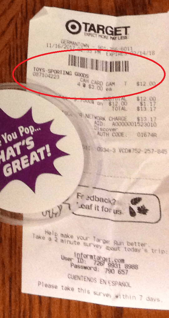 Reciept from target of prongles which reads CAH card game