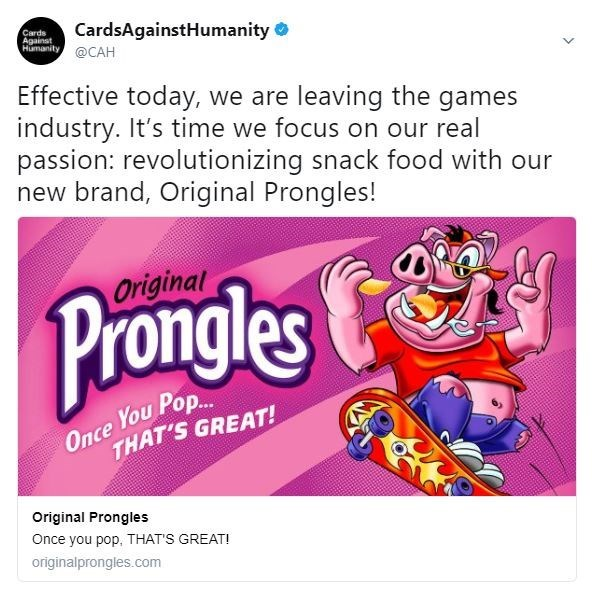 Tweet by Cards Against Humanity about them leaving the games industry and chasing their dreams of selling chips