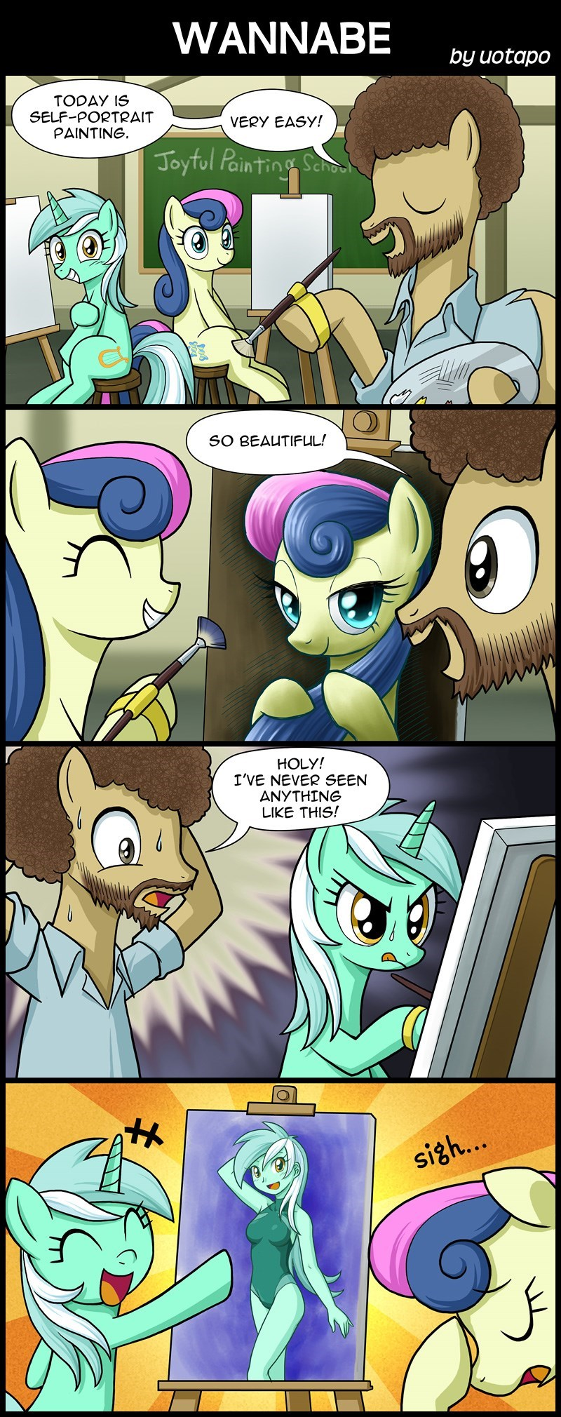 equestria girls lyra heartstrings uotapo bob ross comic bon bon - 9099817728