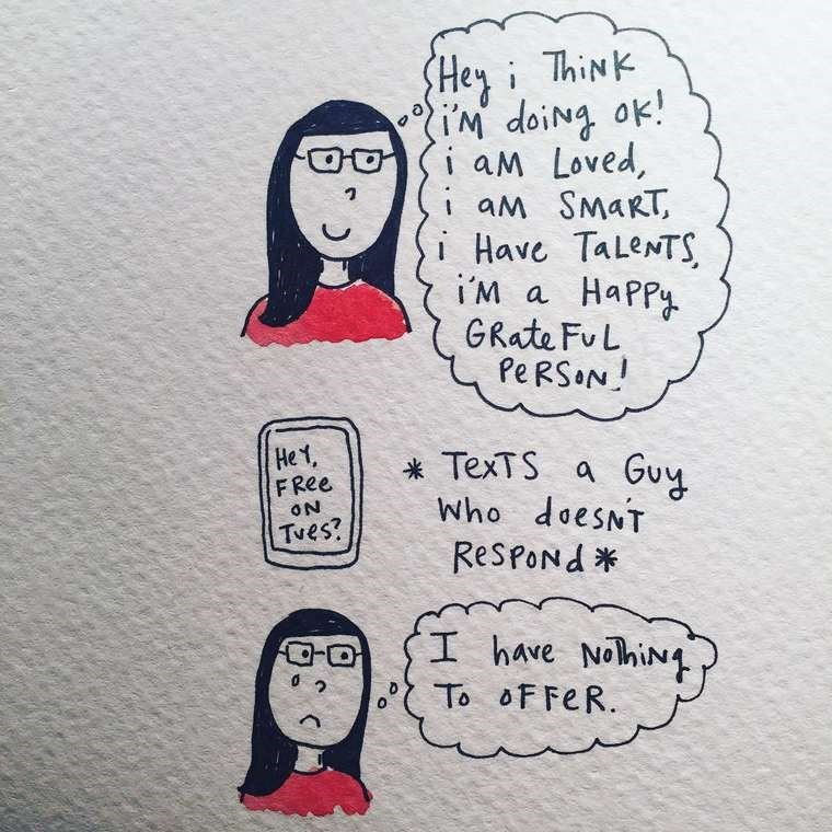 mari andrew webcomic - Text - Heyi ThiNk iM doing ok! i aM Loved, aM SMART, i Have TaleNTS i'M HaPPy GRate Fu L Pe RSON a He1, FRee *TexTS a Guy Who doesNT ON Tves? RespoNd I hAve NohiN To oF FeR. O