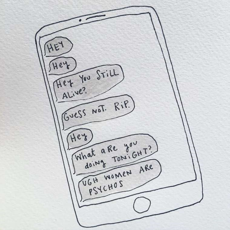 mari andrew webcomic - Text - HEY SHey Het You STILL ALive? (Guess NoT. RiP (Hey What a Re ov doiN TONiGHT UGH WOMEN ARe PSYCHOS