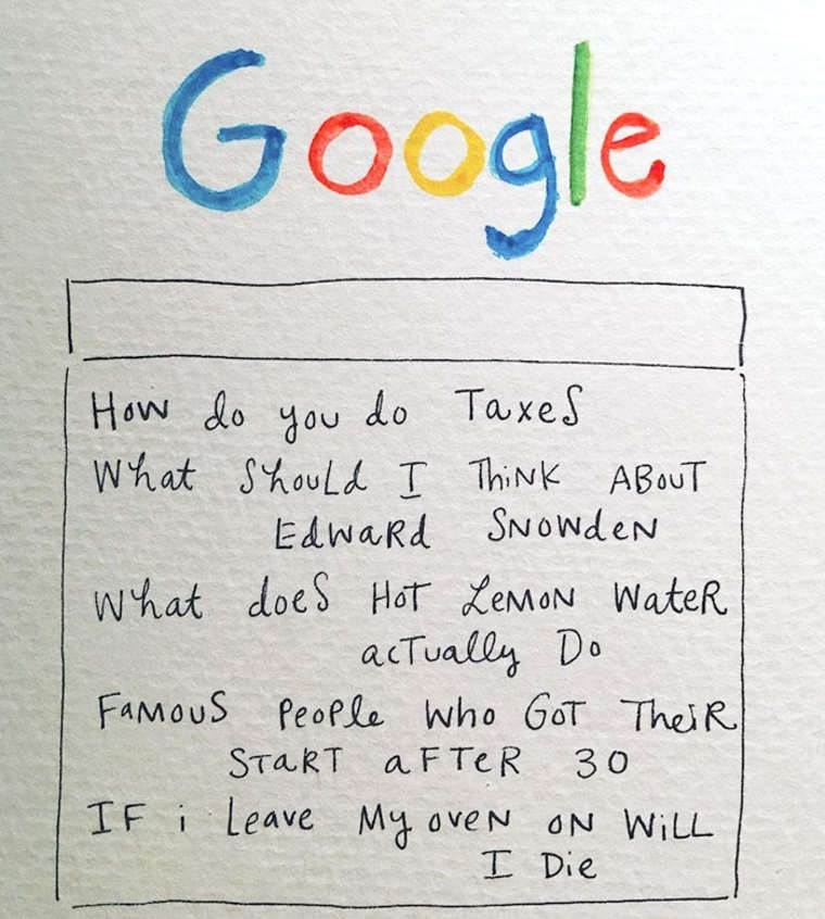 mari andrew webcomic - Text - Google How do you do TaxeS What ShouLd I ThiNK ABouT EdwaRd SNowdeN what does Hor XEMON WateR acTually Do FAMOUS People Who GoT Thei R START a FTER IF i Leave My oveN ON WILL 30 I Die