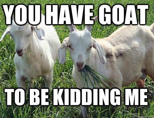 Goats - YOU HAVE GOAT TO BE KIDDING ME quckaemecom