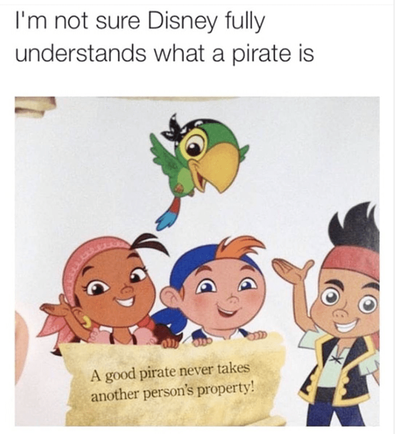 Cartoon - I'm not sure Disney fully understands what a pirate is A good pirate never takes another person's property!