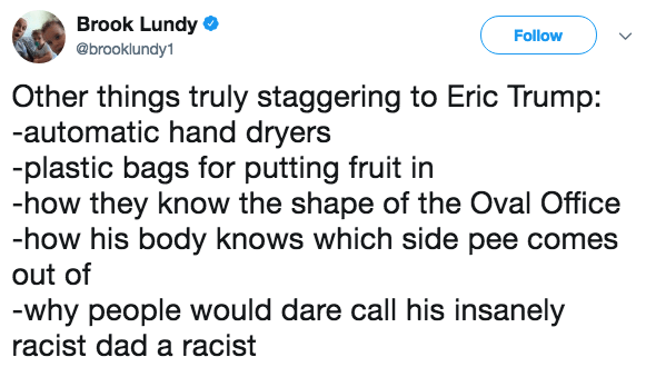 Text - Brook Lundy Follow @brooklundy1 Other things truly staggering to Eric Trump: -automatic hand dryers -plastic bags for putting fruit in -how they know the shape of the Oval Office -how his body knows which side pee comes out of -why people would dare call his insanely racist dad a racist