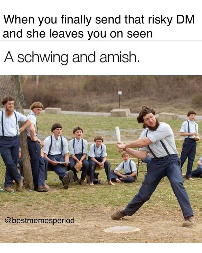 Funny meme about dating, using photo of amish people and a pun.