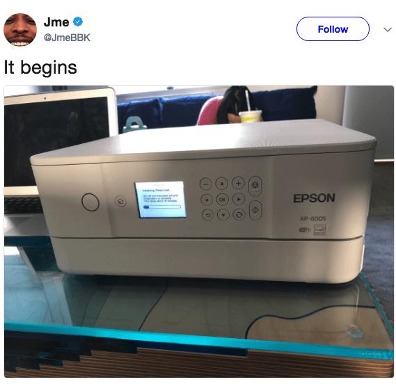 Product - Jme Follow @JmeBBK It begins EPSON XP-6005