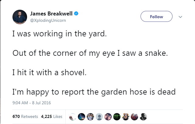 Text - James Breakwell Follow @XplodingUnicorn I was working in the yard. Out of the corner of my eye I saw a snake. I hit it with a shovel. I'm happy to report the garden hose is dead 9:04 AM - 8 Jul 2016 670 Retweets 4,225 Likes