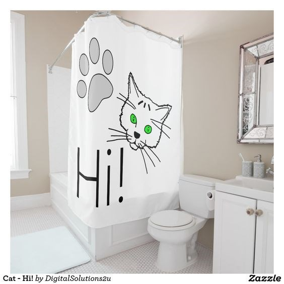 Shower curtain - HiT Cat Hi! by DigitalSolutions2u Zazzle ত )