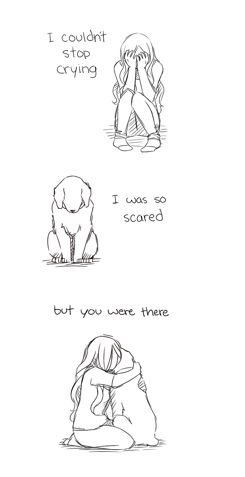 Line art - I couldnt stop crying 1 was SO scared but you were there