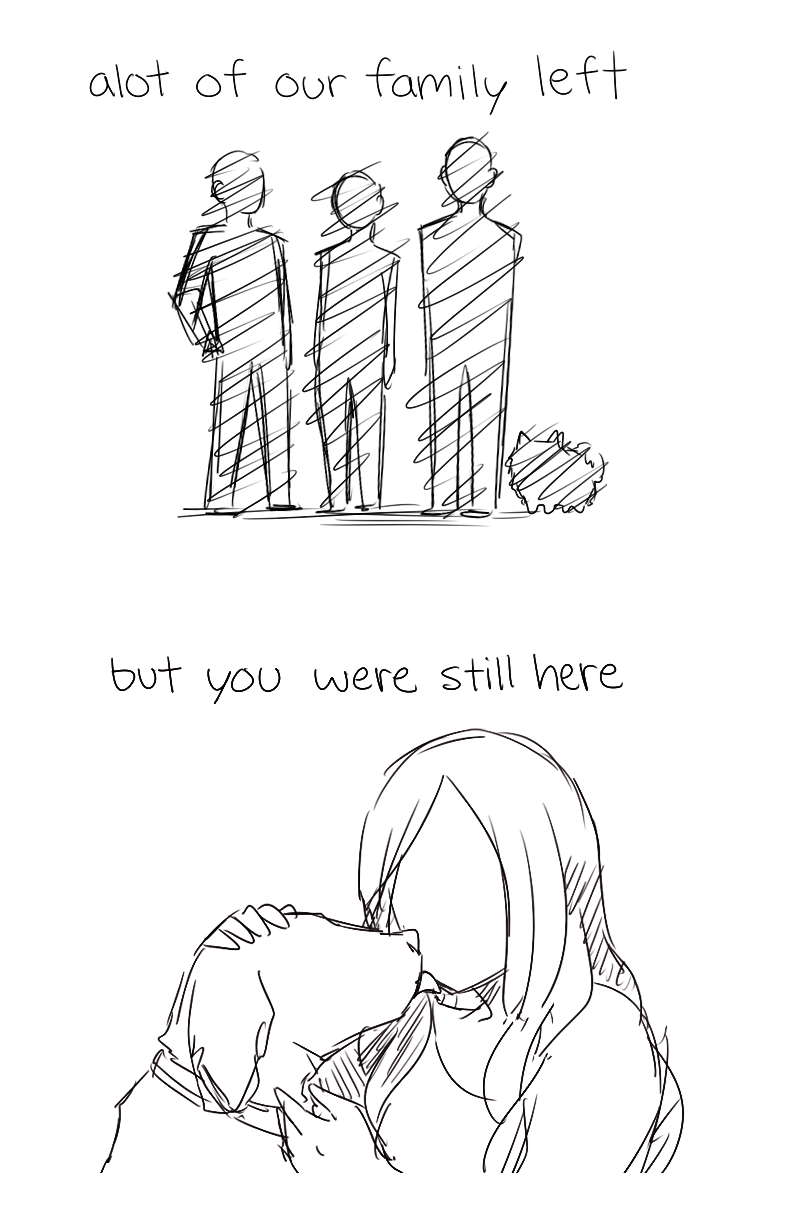 Line art - alot of our family left but you were still here
