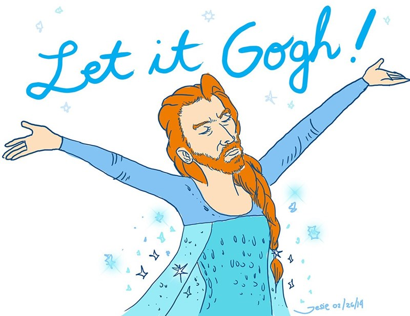 Funny meme about van gogh and elsa from frozen.