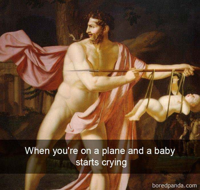 meme - Painting - When you're on a plane and a baby starts crying boredpanda.com