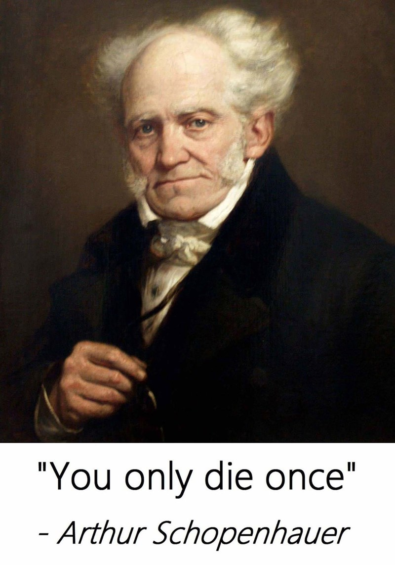 "meme - Portrait - ""You only die once"" - Arthur Schopenhauer"