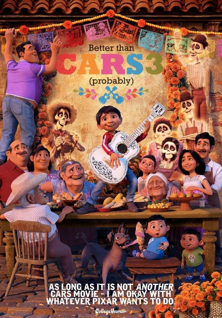 Fun - Better than CARS3 (probably) AS LONG AS IT IS NOT ANOTHER CARS MOVIE-IAM OKAY WITH WHATEVER PIXAR WANTS TO DO Collegellumon an