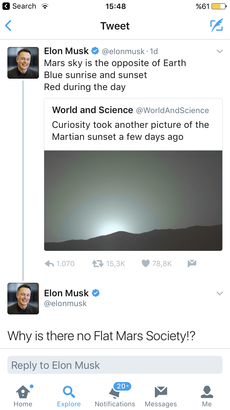 Elon Musk tweet asking why there are no theories about planet Mars being flat