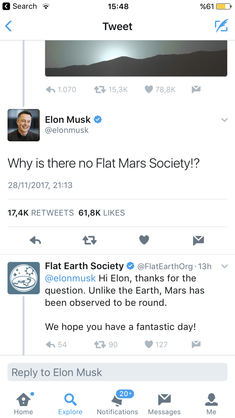 Flat Earth Society tweeting to Elon Musk to confirm planet Mars is round