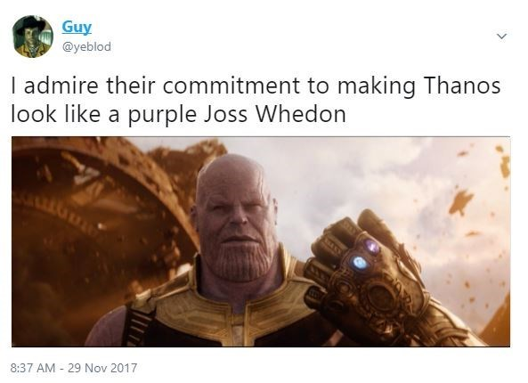 "Screenshot of a tweet that says ""I admire their commitment to making Thanos look like a purple Joss Whedon"" with a picture of Thanos"