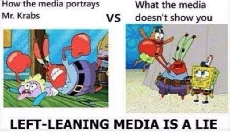 Cartoon - How the media portrays What the media Mr. Krabs VS doesn't show you LEFT-LEANING MEDIA IS A LIE