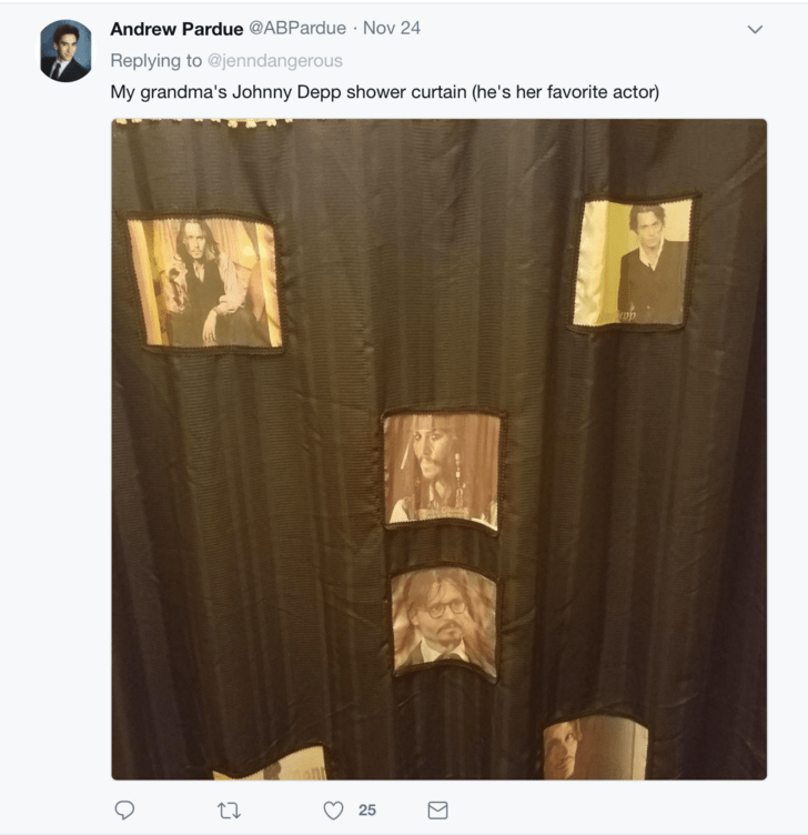 Text - Andrew Pardue @ABPardue Nov 24 Replying to @jenndangerous My grandma's Johnny Depp shower curtain (he's her favorite actor) 25