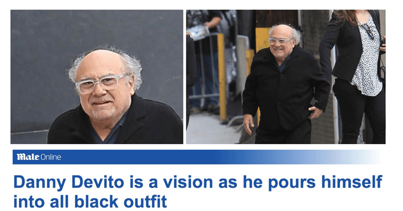 Funny tweets making fun of Daily Mail, parody called the daily male which reports on the appearance of male celebrities, danny devito, chris evans, ricky gervais, chris pratt, piers morgan, the rock, ryan reynolds.