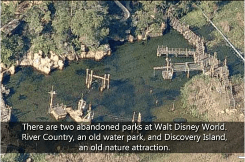 Aerial photography - There are two abandoned parks at Walt Disney World. River Country, an old water park, and Discovery Island, an old nature attraction.