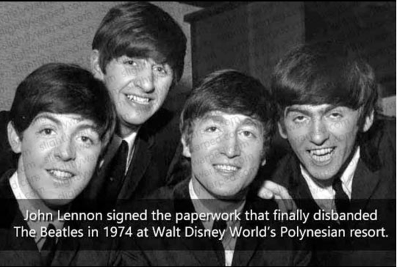 People - l.con slight arped erpes war Com John Lennon signed the paperwork that finally disbanded The Beatles in 1974 at Walt Disney World's Polynesian resort.
