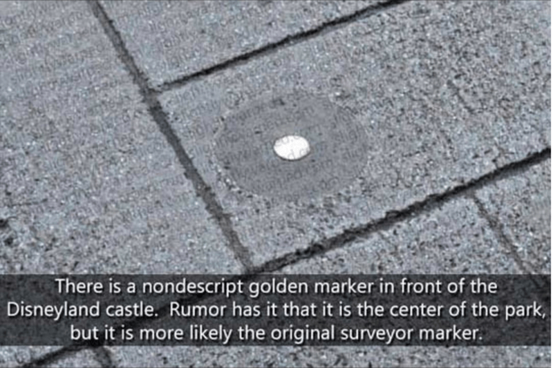 Text - There is a nondescript golden marker in front of the Disneyland castle. Rumor has it that it is the center of the park but it is more likely the original surveyor marker