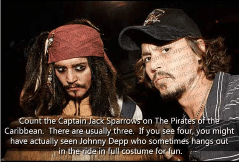 Facial hair - ghtlywarped stlywarped wwarped. warped Warpe Count the Captain Jack Sparrows on The Pirates of the Caribbean. There are usually three. If you see four, you might warpedg wwarped have actually seen Johnny Depp who sometimes hangs out in the ride in full costume for fun.