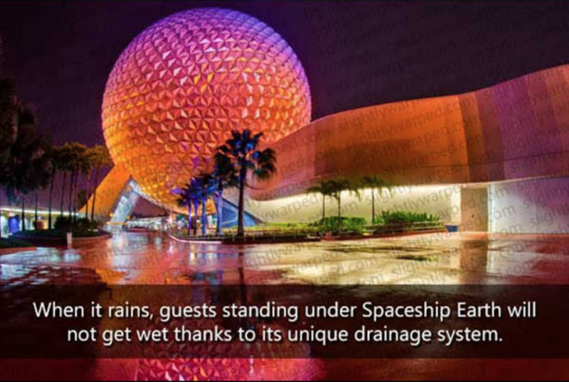 Landmark - shtlywa shnlitamed.com.sum YPALY ed.cosigt warped aped.comsig ed zom sight mem sliğhtk. When it rains, guests standing under Spaceship Earth will not get wet thanks to its unique drainage system. sigit