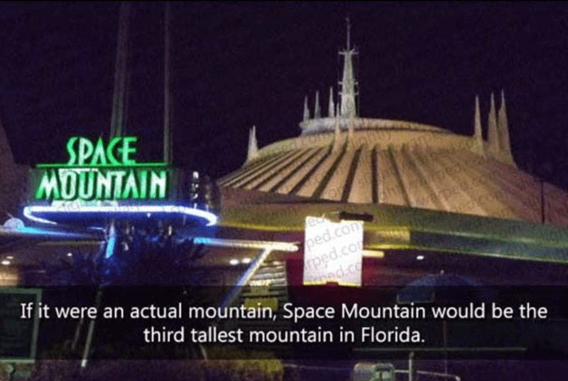 Landmark - SPACE MOUNTAIN wapea.co edicom ped.com ped.co If it were an actual mountain, Space Mountain would be the ped.co third tallest mountain in Florida.