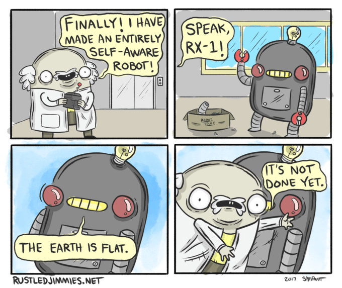 meme about a robot saying the earth is flat